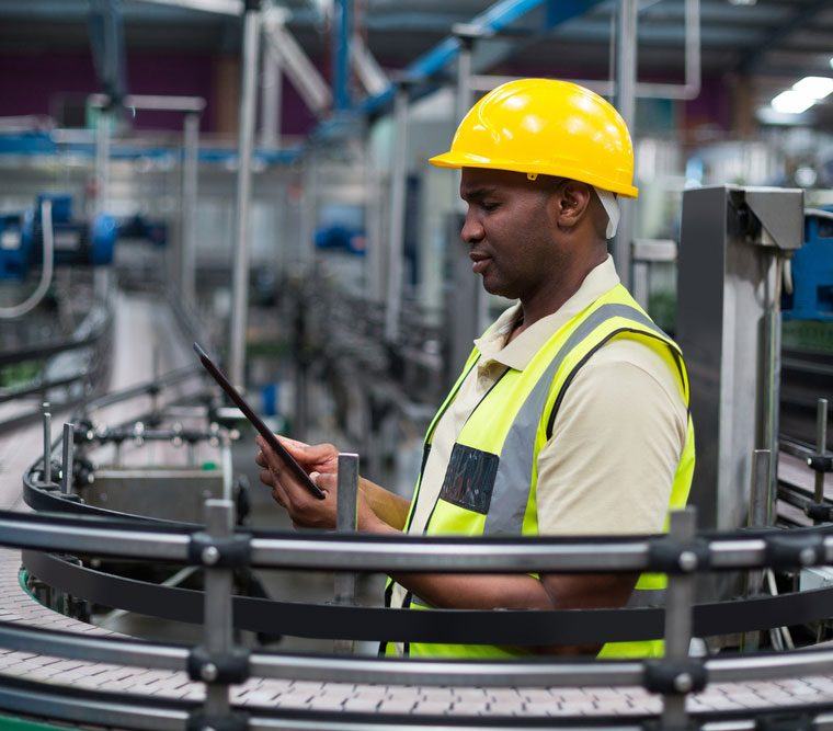 Operator with EZ-GO app in a factory